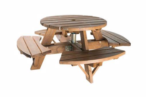 Table de pique-nique ronde en bois