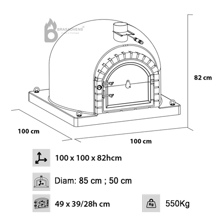 technical measures for the wood-fired oven FUMUS 100cm